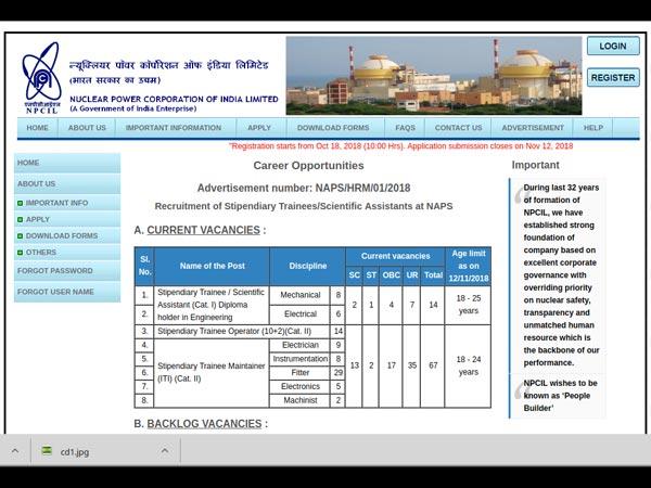 ಎನ್ಪಿಸಿಐಎಲ್ ನೇಮಕಾತಿ 2018 : 88  ಸ್ಟೈಪಂಡ್ರೀ ಟ್ರೈನೀ ಹುದ್ದೆಗಳಿಗೆ ಅರ್ಜಿ ಆಹ್ವಾನ