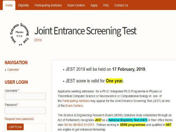 ಜೆಇಎಸ್ ಟಿ 2019: ನವಂಬರ್ 8 ರಿಂದ ರಿಜಿಸ್ಟ್ರೇಶನ್ ಪ್ರಕ್ರಿಯೆ ಆರಂಭ