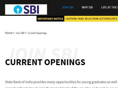 SBI SCO Recruitment 2020:  ಸ್ಪೆಷಲಿಸ್ಟ್ ಕೇಡರ್ ಅಧಿಕಾರಿ ಹುದ್ದೆಗಳಿಗೆ ಅರ್ಜಿ ಆಹ್ವಾನ