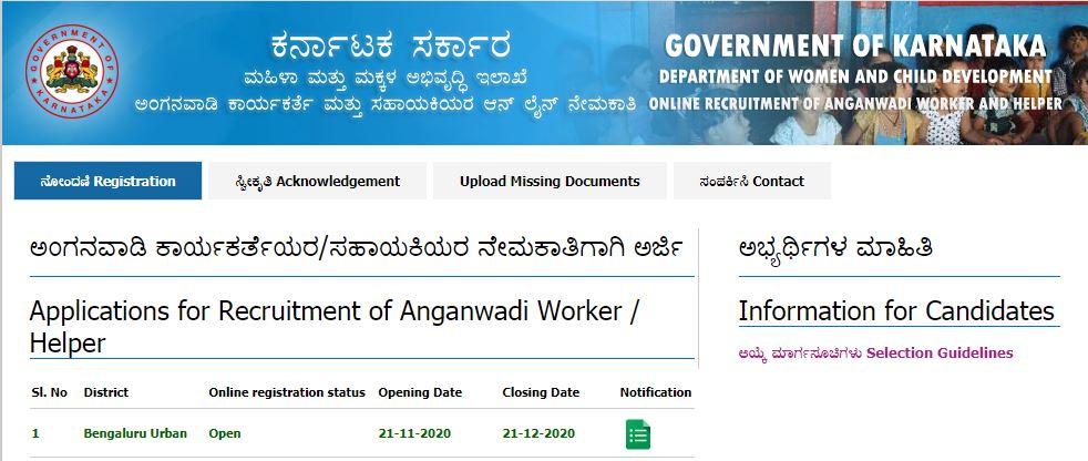 WCD Bengaluru Urban District Recruitment 2020: ಅಂಗನವಾಡಿಯಲ್ಲಿ ಉದ್ಯೋಗಾವಕಾಶ.. ಡಿ.21ರೊಳಗೆ ಅರ್ಜಿ ಹಾಕಿ