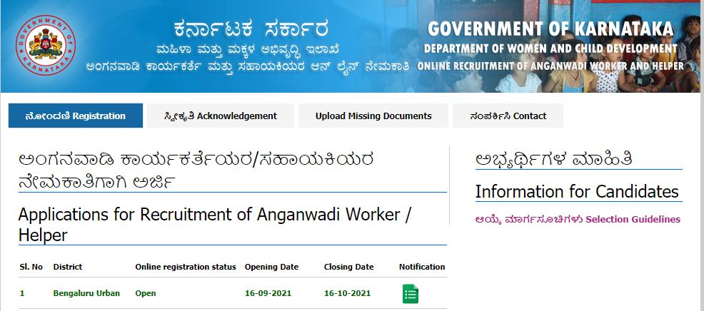 Bengaluru Urban District Anganawadi Recruitment 2021 : 357 ಅಂಗನವಾಡಿ ಕಾರ್ಯಕರ್ತೆ ಮತ್ತು ಸಹಾಯಕಿ ಹುದ್ದೆಗಳ ನೇಮಕಾತಿ