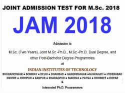 Jam 2018 Admission Test For Msc Hall Tickets Available
