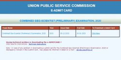 Upsc Combined Geo Scientist Admit Card 2020 Released For Preliminary Exam
