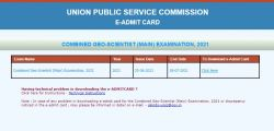 Upsc Cgs Mains Admit Card 2021 Released How To Download