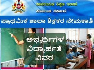 Higher Primary School Teachers Recruitment Educational Qualification