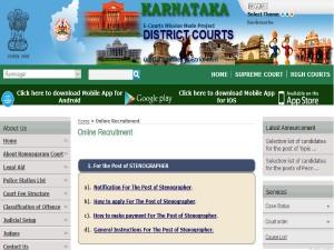Karnataka District Courts Recruitment For Stenographer