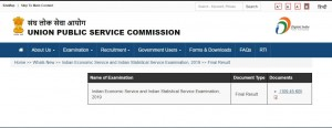 Upsc Ies Iss Final Result 2019 Released