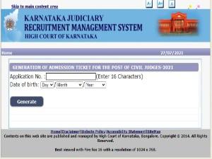 Karnataka High Court Prelims Admit Card 2021 Released For Civil Judge Posts